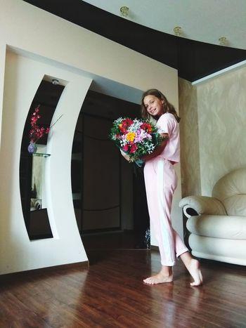 Bride Flower Full Length Wedding Dress Standing Window