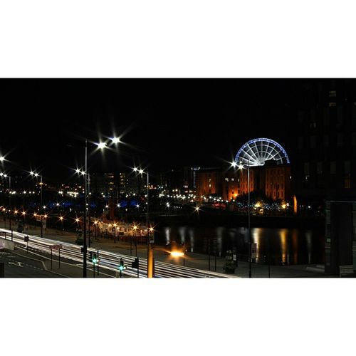 Liverpool is pretty at night Liverpool AlbertDocks Wheel Longexposure