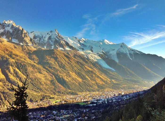 Scenic view of mont blanc massif on sunny day