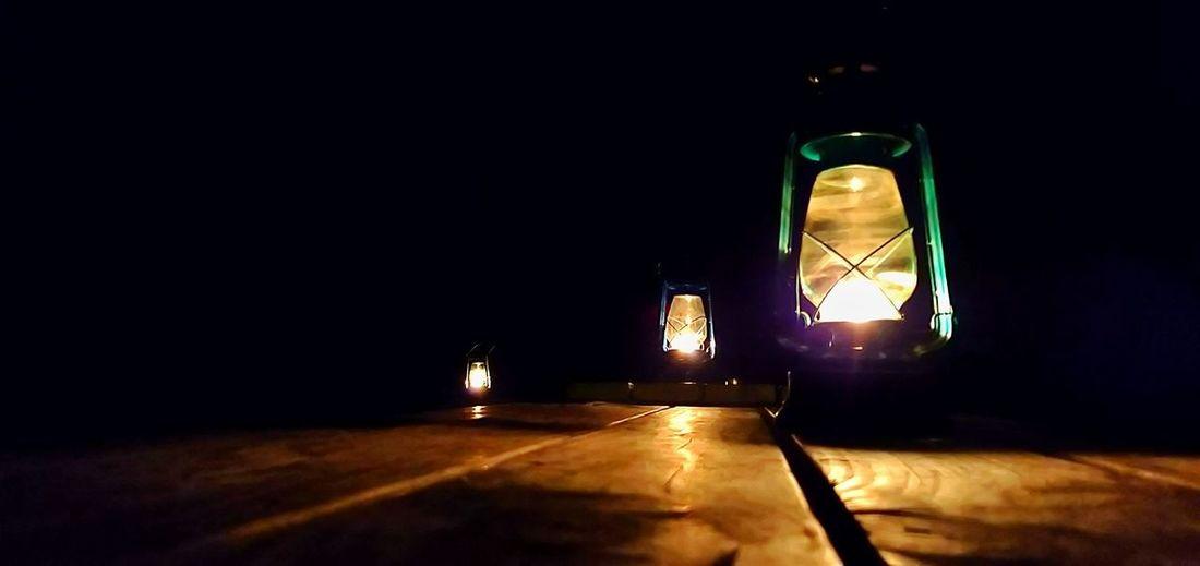 Illuminated lamp in the dark