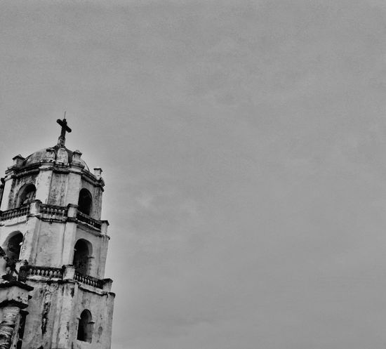 Open your eyes. Look up at the sky. Thank God for all the blessings. Church Black&white