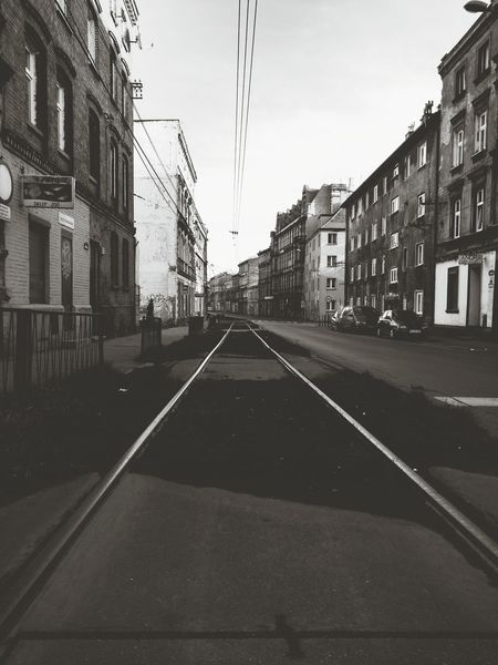 City Cityscape Street Tramtracks Electricline Buildings Cars Between Vanishing Point From My Point Of View Silesia Blackandwhite Black & White Black And White Street Photography Wasiak Moto X