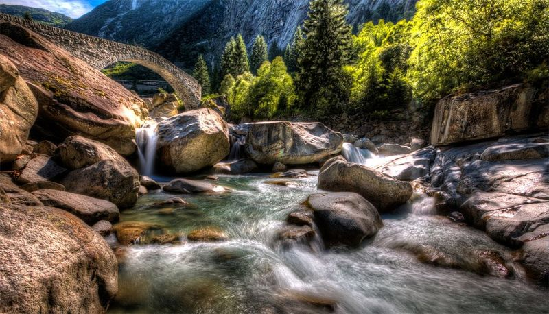 River Fluss Andermatt  Andermattswissalps Brücke Bridge Stones Stonebridge Mountains Berge Reuss Nature Beautiful Nature Switzerland Schweiz