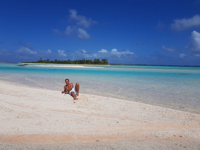 Beach Sea Vacations Sand Island Blue Relaxation Nature Tourism Lost In The Landscape French Polynesia Tikehau Me Leisure Activity Travel Destinations One Person Blue Sky