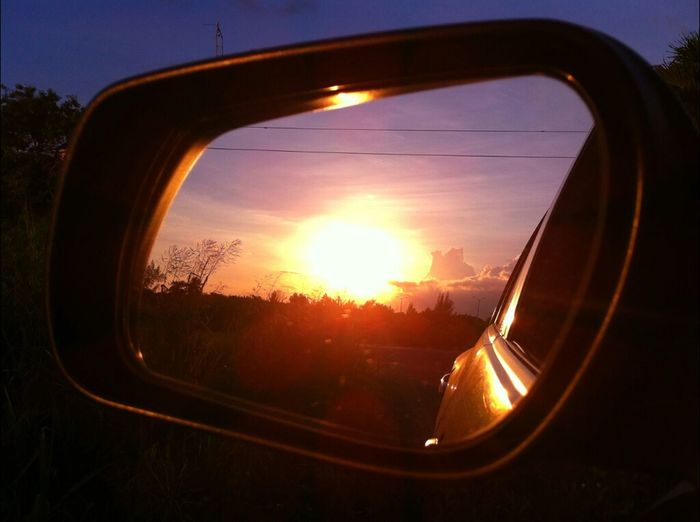 Staring at the world through my rearview... Sunset Sunshine Sky Mirror Enjoying The Sunset Clouds And Sky Skyporn Mirrorgraphy Sky_collection Eye4photography  Sun