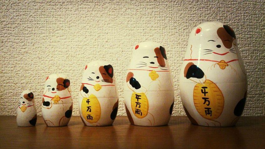 Funny Faces Matryoshka Doll Lucky Cat 招き猫