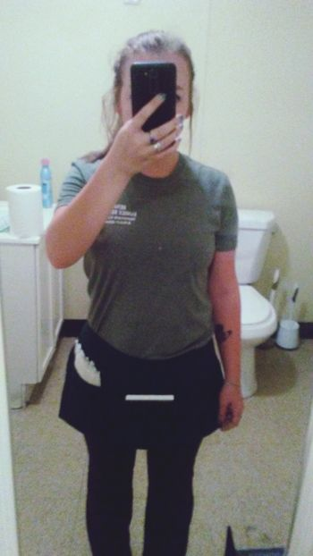 Absolutely 💚 my green apron. Cute Waitresslife Work Bathroom Selfie Brunette Filter Pierced One Person Inked Girl