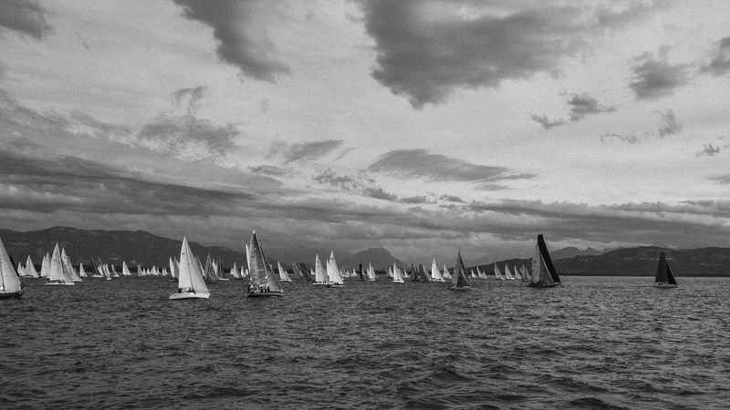 Blackandwhite Close-up Competition Following Highcontrast Lake Regata Sailing Sailingboat Sky Wind