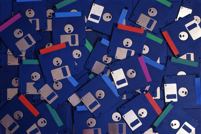 old computer diskettes Blue Close-up Disk Diskette Floppy Floppy Disk  FloppyDisk Full Frame Large Group Of Objects Old Oldschool Retro Retro Style Three And A Half Inch
