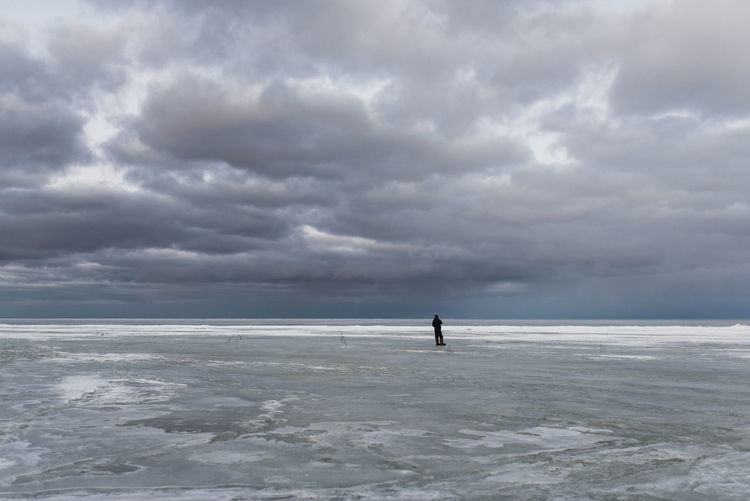 Ice Rink Full Length City Storm Cloud Frozen Water Sea Beach Paddleboarding Silhouette Awe
