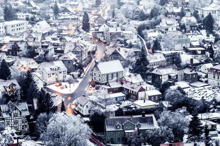 Snow City Architecture Winter Building Exterior Cold Temperature Built Structure Building Crowded High Angle View Nature Residential District Cityscape Snowing Outdoors Roof Frozen Extreme Weather Blizzard Wernigerode Harz Harzmountains