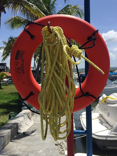 Rope Nautical Vessel Day Mode Of Transport Outdoors Moored Transportation Life Belt No People Harbor Sky Tree Boat Deck Nature Close-up Life Saver Life Saving Equipment Sommergefühle