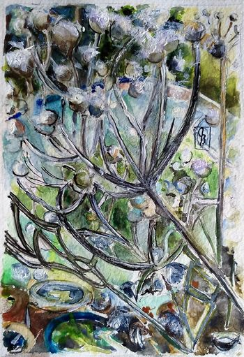 Frost. 6x4 Watercolour Surrey Artists'Open Studio for Chertsey Artist, 19 artists taking part at 6a Windsor Street Chertsey kT16 8AS from 11to12 and 18to19 June opening from 11am to 5pm I ❤️ Garden ArtWork Watercolour The Purist (no Edit, No Filter)