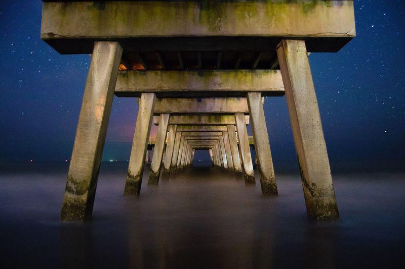 Photography Landscape Waves Ocean Georgia Tybee Island GA Long Exposure Stars Astrophotography Pier Night