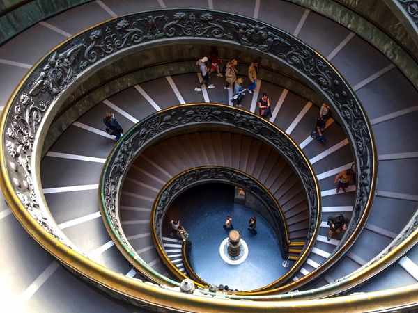 Italy Vatican Steps And Staircases Staircase Steps Railing Architecture Spiral Built Structure Spiral Staircase Large Group Of People Spiral Stairs