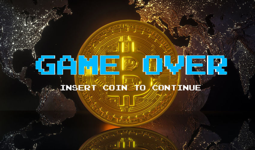 Bitcoin Crash Loss Game Over Over Bit  Business Symbol Crypto Looser Bit-coin Coin Money Danger Shock Currency Gold Financial Poverty Worthless Market Virtual Economy Buy Bank Shining Cryptocurrency Coinbase Bit Coin International Finance Digital 3d Rendering Object Worldwide Electronic Golden Mining Illustration Virtual Money Banking BTC