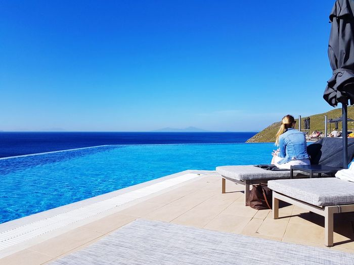 Sea Water Beach Relaxation Vacations greec Greece Style Beauty In Nature Tranquility Vacations Sky Day Swimming Pool Outdoors High Angle View Nature Samsung Galaxy S7 Edge Foto