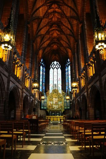 Architecture Cathedral Low Angle View Tourist Attraction  Tourism Religion Place Of Worship Spirituality Architecture Pew Travel Destinations Arch Indoors  History Built Structure Tranquility No People Altar Day