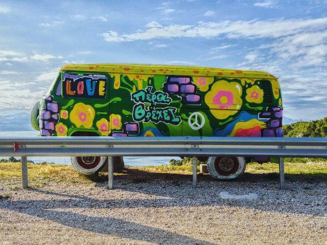 Wolkswagen  70s Art  Flowerpower Sideroad Minivan Flowerart Hippie VWbus LG G4
