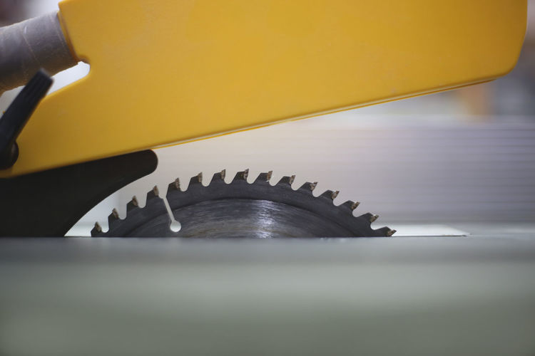 High angle view of machinery on table