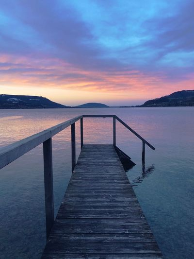 Austria Lake Water Sea Sunset Scenics Sky Beauty In Nature Tranquil Scene Nature Pier Cloud - Sky Outdoors Mountain Beach No People Horizon Over Water