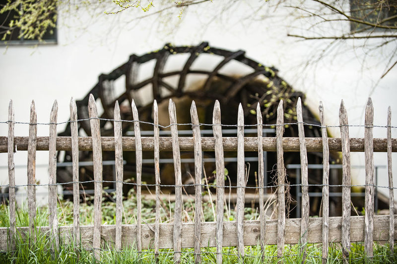 Architecture Built Structure Day Historical Building Leaf Bud Mill Wheel No People Outdoors Springtime Vintage Style Wooden Fence
