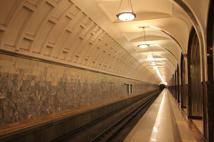 Moscow Metro Stations EyeEm Selects Architecture Indoors  Lighting Equipment Illuminated Built Structure Transportation Travel No People Ceiling Public Transportation The Way Forward The Way Forward The Way Forward Rail Transportation Building Arch Subway Station Direction Subway Travel Destinations