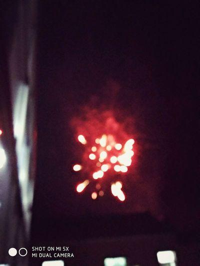Red Firework Celebration Night