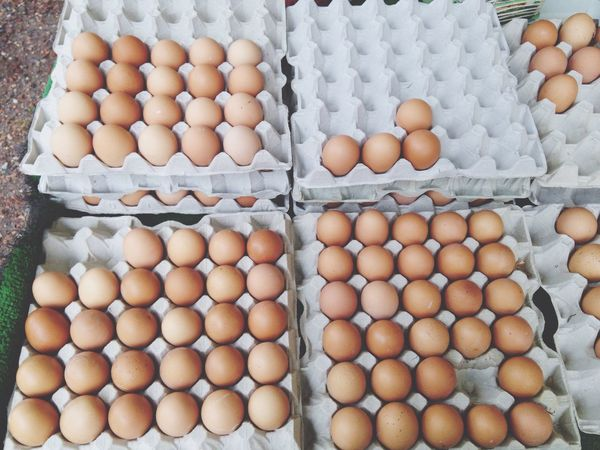 EyeEm Selects Egg Egg Carton Food And Drink Animal Egg Raw Food Healthy Eating Food Abundance Protein Brown Eggs Large Group Of Objects Freshness Ingredient In A Row High Angle View Market No People