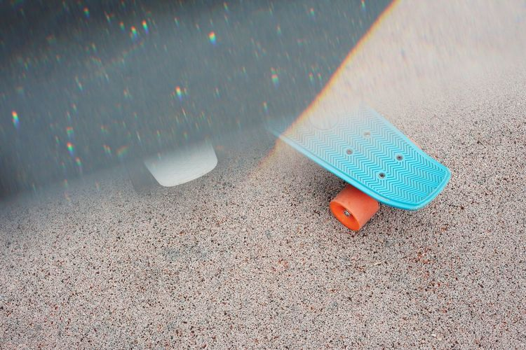 High angle view of skateboard