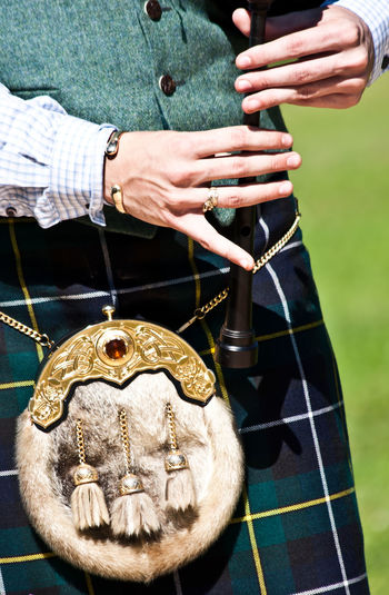 Mid Section Of A Bagpiper