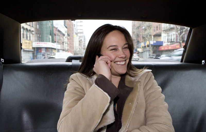 Backseat Of Yellow Cab Inside Yellow Cab Mode Of Transport Person Portrait Toothy Smile