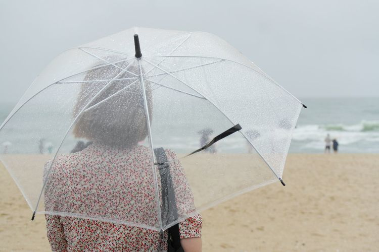 Rear view of woman with umbrella standing on beach