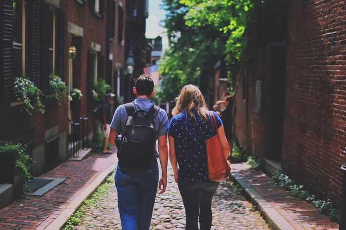 Rear View Building Exterior Walking Togetherness Two People Architecture Built Structure Street Friendship Outdoors Women Love Real People Men City Day Full Length Young Adult Adult People