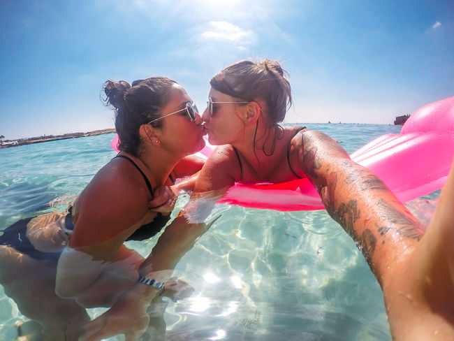 Cyprus Kiss Adult Bonding Family Holiday Leisure Activity Lgbt Lifestyles Nature Positive Emotion Real People Sea Sky Sunlight Swimming Pool Swimwear Togetherness Trip Two People Vacation Vacations Water Women Young Adult