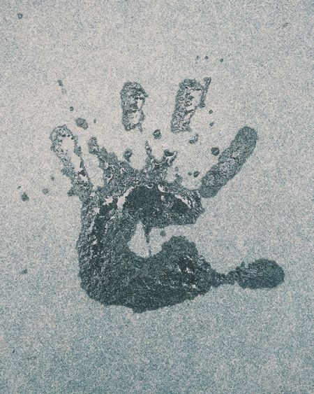 Handprint Water Wet Slash  Splatter Five Fingers Concrete