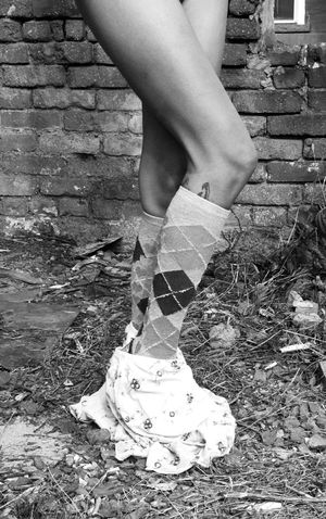 Shy Shy Girl Skirt Knee High Socks  Socks Girl With Tattoos Undressed Around The ANKLES Brick Brick Wall Black And White Photography Just Legs..