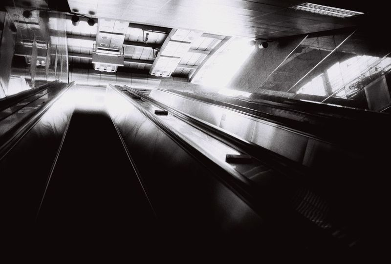 Thai Subway No Peoples Stairs Thai MRT Architecture Black And White Black And White Photography Built Structure Bw Day Film Photography Illuminated Indoors  Light And Shadow No People Stair And Elevator Technology Transportation
