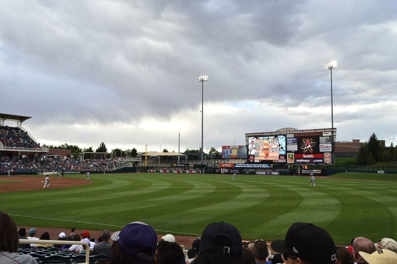 The Color Of Sport Sport Is Green Baseball Baseball Field Baseball Stadium Albuquerque Albuquerque Isotopes Winning Last Inning Grey Sky Sport