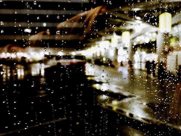 Busterminal Wet Water Window Drop Glass - Material Full Frame Transparent Rain Indoors  RainDrop Close-up Rainy Season