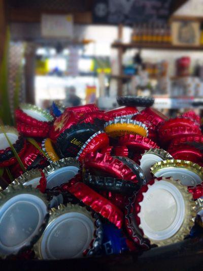 Bottle caps Close-up Drink Bar Beer Bottles Bottle Caps Chapas Colors In The Pub Pub Bokeh