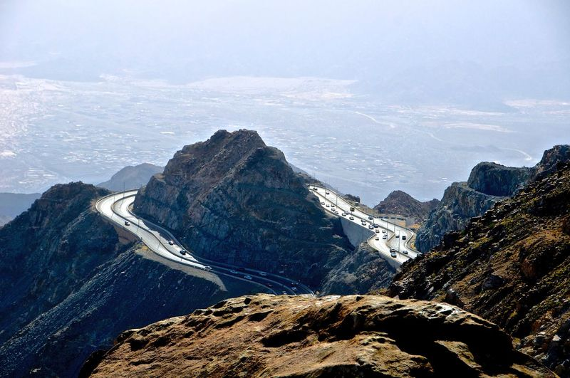 Aerial View Of Road On Mountains