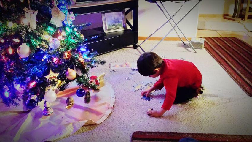 Christmastime Christmas Lights Beautiful Kid Sweet Moments Puzzles