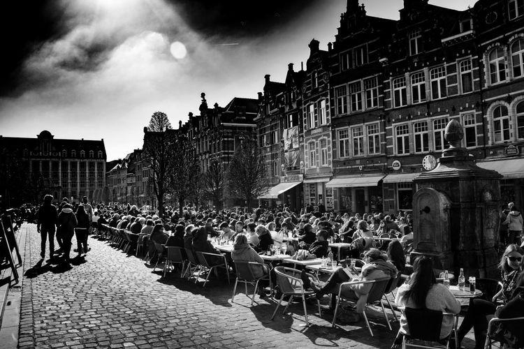 Large Group Of People Leuven Oude Markt Oude Markt Leuven Sky