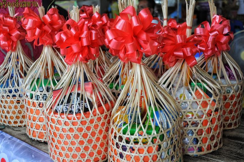 Group of Basket for give to monk Basket Basket Weave Believe Budhism Close-up For Sale Large Group Of Objects Monk  Red Red Color Retail  Retail Display