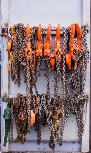 equipment Scale  Constructed Repairs Chain Chair Lift Heavy Construction Equipment Lift pocket Pick Up Logistics Cargo Container Harbor Shipping Closeup Container Blocked Blockofflats