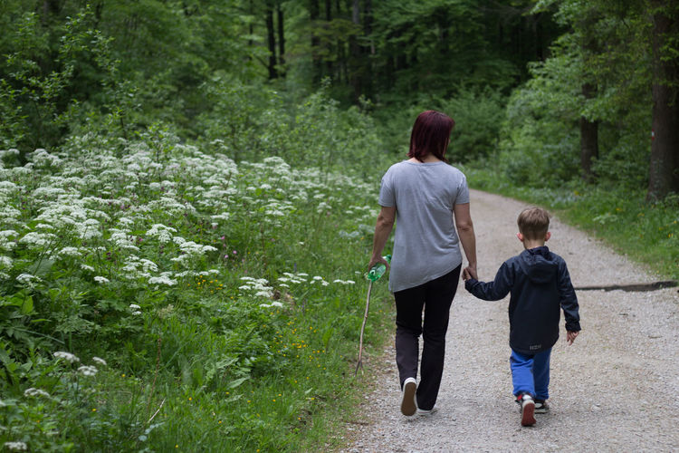 Rear view of mother and son walking on footpath