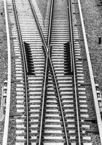 B&w Backgrounds Black And White Close-up Day Deflector Full Frame No People Outdoors Pattern Rail Transportation Railroad Track Schienen Switch Point Transportation Weiche