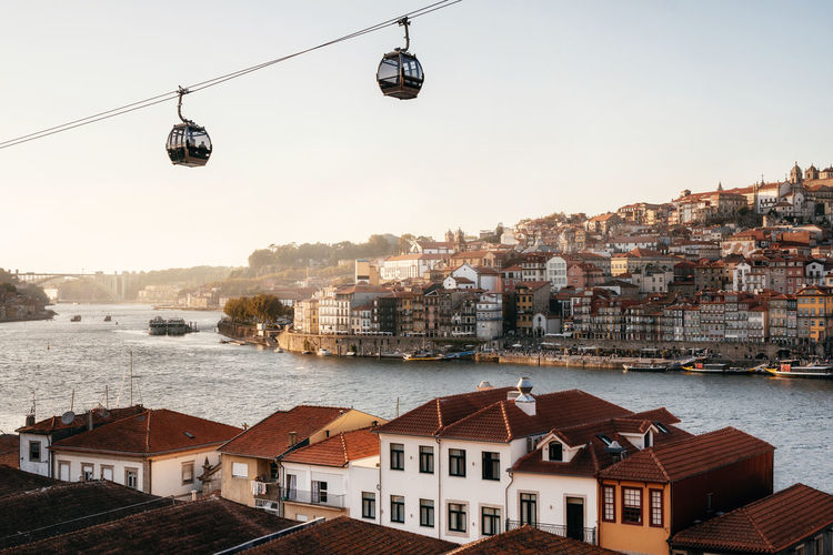 Cable cars hanging over river and cityscape against clear sky