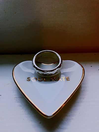 Ring Heart Heart Shaped  Soul Mate Silver  Hammered Metal Wedding Ring Ring Water Table Still Life High Angle View Metal